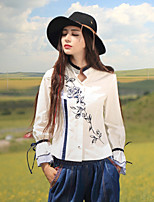 Our Story Going out Chinoiserie Spring / Fall T-shirtEmbroidered Round Neck Long Sleeve White Polyester / Spandex Medium