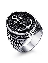 Men's Fashion Individual  Ship's Anchor Stainless Steel High Polised Band Rings(1Pc)