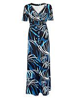 Feminino Solto Vestido,Tamanhos Grandes Boho Estampado Decote V Longo Manga Curta Azul Poliéster Primavera / Outono Cintura AltaCom