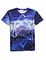 New Fashion Men The snow capped mountains Printed Crew Neck Short Sleeve Men 3d T-shirt
