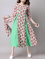 Women's Casual Ethnic Print Loose /Swing DressPrint /Patchwork  Sleeve Blue /Red /Green Cotton /Linen Fall / Winter