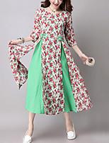 Feminino Solto / Swing Vestido,Casual Vintage Estampado / Patchwork Decote Redondo Médio Manga ¾ Azul / Vermelho / Verde Algodão / Linho