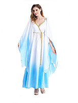 Cosplay Costumes Fairytale Goddess Egyptian Costumes Movie Cosplay White Solid Dress Belt Halloween Christmas New Year Female Polyester