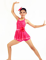 Jazz Dresses Women's / Children's Performance Spandex / Sequined / Tulle / Flower(s) / Sash/Ribbon / Sequins