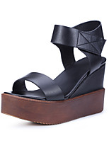 Women's Sandals Summer Platform Leather Casual Wedge Heel Magic Tape Black / Brown Others