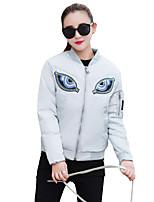 Women's Print Fashion Thick Baseball Uniform Padded CoatSimple / Street chic Stand Long Sleeve