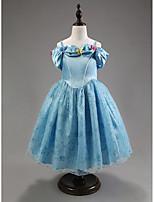 A-라인 발목 길이 플라워 걸 드레스 - 오간자 짧은 소매 쥬얼리 와 자수장식