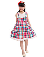 Girl's Casual/Daily Check DressCotton Summer Red