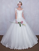 Ball Gown Wedding Dress Floor-length V-neck Tulle with Lace