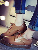 Women's Oxfords Fall Comfort Leatherette Casual Platform Lace-up Black / Brown Others