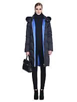 Women's Solid White / Black Down CoatSimple Hooded Long Sleeve