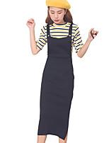 Feminino Bainha Vestido,Happy-Hour / Casual Fofo Sólido Com Alças Médio Sem Manga Preto / Cinza Algodão Outono Cintura Alta Micro-Elástica