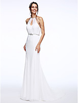 Lanting Bride® Trumpet / Mermaid Wedding Dress Court Train Halter Chiffon / Organza with Sash / Ribbon / Beading
