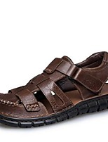 Men's Sandals Summer Sandals Leather Casual Flat Heel Others Black / Tan Others