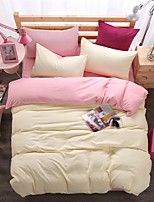 Bedtoppings Comforter Duvet Quilt Cover 4pcs Set Queen Size Flat Sheet Pillowcase Solid Color Reversible Microfiber Fabric