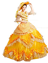 Steampunk@Women's Yellow Adult Princess Belle Costume Cosplay Party Dress  Halloween Dress