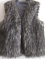Женский На каждый день / Вечеринка/коктейль / Большие размеры Однотонный Пальто с мехом V-образный вырез,Секси / Простое Осень / Зима