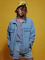 les femmes neato de sortir simples denim printemps / automne jacketssolid col de chemise à manches longues bleu / coton noir