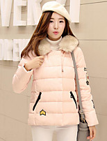 Women's Solid Blue / Pink / Red / Black / Gray / Yellow Padded Coat,Street chic Hooded Long Sleeve
