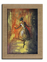 Oil Painting Modern Abstract People Dance On Little Girl Hand Painted Natural Linen With Stretched Frame