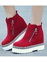 Women's Boots Fall Winter Cotton Outdoor Platform Zipper Black Red Other