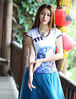 Our Story Going out Vintage Summer T-shirtFloral Round Neck Sleeveless Blue Cotton / Polyester / Spandex Medium