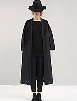 Rizhuo Women's Going out / Casual/Daily Simple Trench CoatPatchwork V Neck Long Sleeve Fall / Winter Black