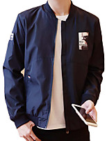 Men's Korean Long Sleeve Casual / Work / Sport Jacket Polyester Embroidered Logo  / Patchwork Black / Blue / Red