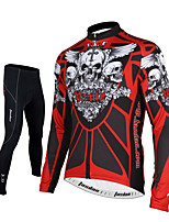 Sports Cycling Jersey with Tights Men's Long Sleeve BikeBreathable / Quick Dry / Front Zipper / Reflective Strips / Back Pocket /