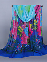 Women's Chiffon Flowers Print Scarf Royal Blue/Orange/Green/Red/Fuchsia