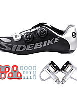 Cycling Shoes 002 Sneakers Damping / Cushioning Black / Silver-sidebike And Silver Lock Pedals