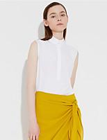 c + beeindrucken Frauen einfache Sommer Gehen shirtsolid Hemdkragen ärmellos weißer Baumwolle / Bambusfaser Medium