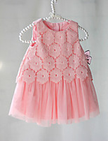 Girl's Casual/Daily Jacquard DressPolyester Summer Pink / White