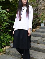 Chemise Femme,Couleur Pleine Décontracté / Quotidien Chinoiserie Printemps / Automne Manches Longues Col Arrondi Blanc Coton Fin