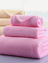 3 Pcs Full Cotton Bath Towel Set Solid Multicolor Super Soft