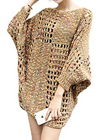 Women's Going out Street chic Long Pullover,Solid Brown / Purple Round Neck ¾ Sleeve Cotton / Fall / Winter Medium
