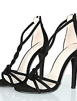 Women's Sandals Summer Heels / Sandals / Open Toe Fabric Party & Evening / Dress / Casual Stiletto Heel Zipper Black /