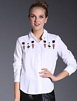 AJIDUO® Женский Рубашечный воротник Длинные Рубашка и Блузка черный увядает / Кот / Оранжевый-6590
