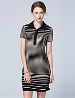 SARAH DEAN  Women's Going out Simple Sheath DressStriped Shirt Collar Mini Short Sleeve Mid Rise Inelastic Medium