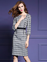 Women's Going out Street chic Sheath Dress,Houndstooth Round Neck Knee-length ¾ Sleeve Gray Cotton / Polyester Fall