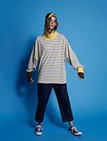 Damen Standard Hoodies-Lässig/Alltäglich Einfach Gestreift Gelb Rollkragen Langarm Baumwolle Frühling / Herbst Mittel Mikro-elastisch