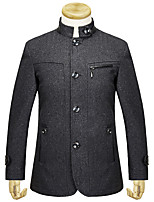 Men's Solid Casual / Work CoatWool / Polyester Long Sleeve-Black / Brown
