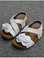 Girl's Sandals Summer Open Toe Leather Casual Flat Heel Bowknot White Others
