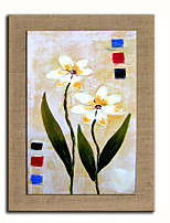 Oil Painting Modern Abstract Flower Set of 1 Hand Painted Natural linen with Stretched Fram