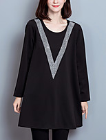 Women's Plus Size / Casual/Daily Vintage Loose DressSolid Round Neck Above Knee Long Sleeve Black Polyester