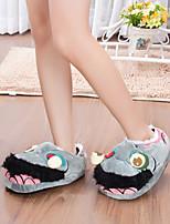 Серый-Женский-На каждый день-Хлопок-На плоской подошве-Удобная обувь-Тапочки и Шлепанцы