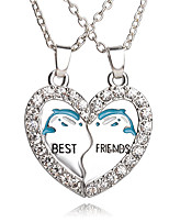 New Arrival Best Friends Broken Heart Dolphin Pendants & Necklaces Rhinestone Necklace Gift For Friends Jewelry