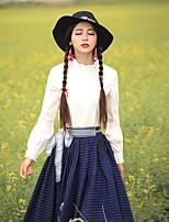 Tee-shirt Aux femmes,Couleur Pleine Sortie Vintage Printemps / Automne Manches Longues Col Arrondi Blanc Coton / Spandex Moyen