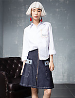 ROOM404  Women's Work Simple All Seasons ShirtSolid / Embroidered Shirt Collar Long Sleeve