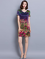 Women's Casual/Daily Chinoiserie Sheath Dress,Print Sweetheart Above Knee Short Sleeve Purple Rayon Summer